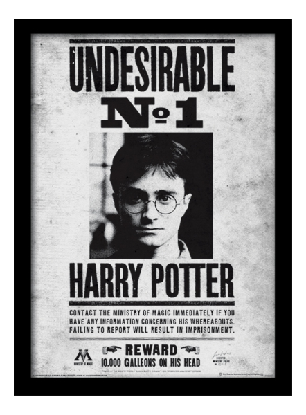 graphic relating to Harry Potter Wanted Poster Printable named Harry Potter Framed Print - Negative No. 1